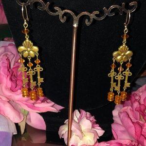 Gold Tone + Orange Glass Beaded Key Drop Earrings